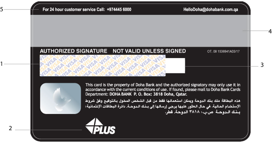 Visa AL RIYADA Infinite credit card - Back