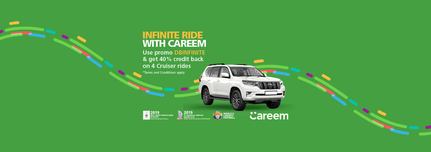 AIRPORT TRANSFERS WITH CAREEM AND DOHA BANK VISA INFINITE CREDIT CARD