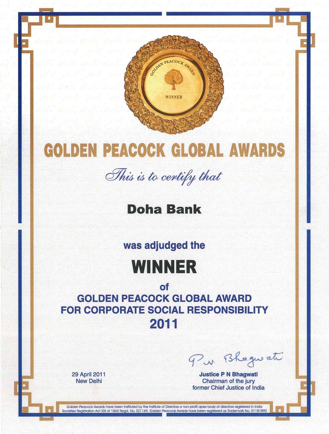 Golden Peacock Global Award 2011