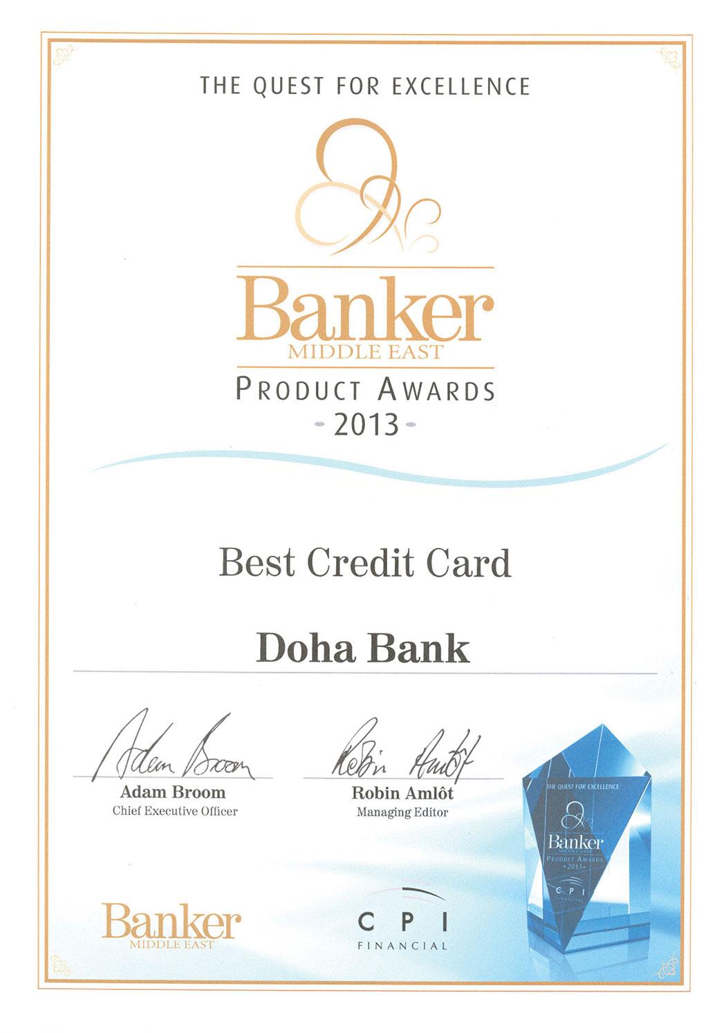 Best Credit Card award